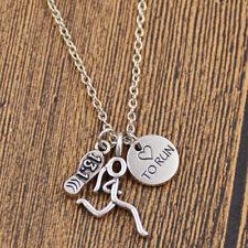 Love to Run Necklace Running Girl Marathon Shoe Sports Pendant Jewelry Gift