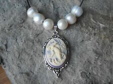 MERMAID CAMEO PENDANT NECKLACE W/ GENUINE FRESHWATER PEARLS, TROPICAL, NAUTICAL