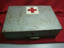 Vintage First Aid Kit Metal Carrying Case with ALOT of military supplies