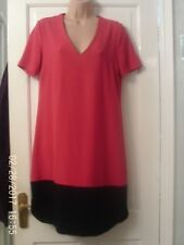 PINK AND NAVY BLUE TUNIC STYLE DRESS BY MARKS AND SPENCER, SIZE 12