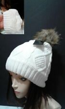 White Beanie Braided Woven Design Pom Pom Faux Fur Lining Warm Winter Hat