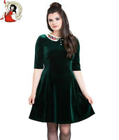 HELL BUNNY NICOLA MINI DRESS XMAS festive GREEN VELVET christmas XS-4XL