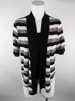I-N-C International Concepts Women sz PP Black Striped Cuffed Sleeve Knit Top