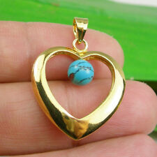 Genuine 925 Sterling Silver Open Heart Turquoise Ball Bead Pendant - GP