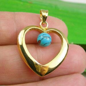 32x23mm Heart & Turquoise Gemstone Pendant Genuine 925 Sterling Silver - GP