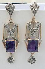 14K gold Silver Amethyst gemstone Diamond earrings fine jewellery Victorian