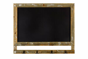 Kitchen Blackboard Rustic Wood Message Board with Metal Hooks Vintage Wall Decor
