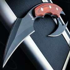 Dual Blade Karambit Knife W/ Sheath - Hardened 440C Blades, Wooden Handle BK4931