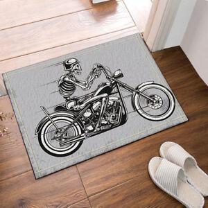 Skull Skeleton on Motorcycle Gray Bath Mat Non Slip Floor Rug Door Mat 40*60 cm