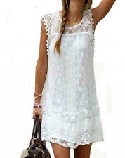 Vestido de Encaje Talla 6 para Señoras mujeres de manga corta Blanco Totalmente Forrado