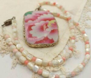 """15"""" Chinese Hand-Painted Pink Porcelain Shard Choker Necklace: 4-5mm MOP Coral"""