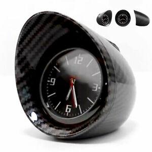 Luminous Car Interior Dashboard Clock Glossy Carbon Fiber Look Zinc Alloy Shell