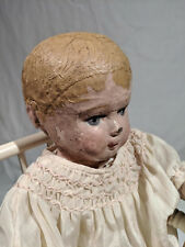 """Early Martha Chase Stockinet Blonde Toddler Doll, 16 1/2"""" tall, & High Chair"""