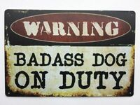 Beware Of Dog Sign Warning  12 x 8 Inch Metal Decor Funny Animal Sign.