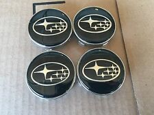NEW 4 PC SET SUBARU BLACK CENTER WHEEL LOGO HUB 60MM COVER CAPS RIM EMBLEM