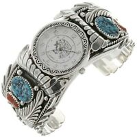 Mens Turquoise & Coral Watch | Big Boy Bracelet | Navajo Sterling Cuff | s7-8
