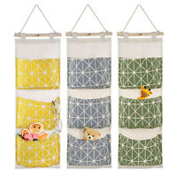 3 Pockets Canvas Door Hanging Storage Bags Wall Mounted Closet Organize Pouch US