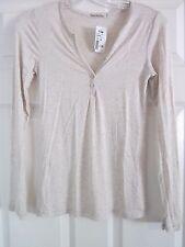 Women's Size M Beige Long Sleeve Junior Shirt Blouse Top
