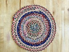 """Antique Vintage Hand Woven Knotted Braided Stitched Rag Rug Multi-color 10.5"""""""