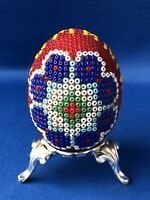 Unusual Romania Intricate Beaded Tiny Bead Egg Multi Coloured Metal Stand