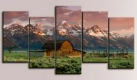Multi Panel Print Barn Mountain Nature Scenery Canvas Wall Art Country 5 Piece