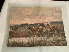 C1930 Pastime Wooden Jigsaw Puzzle 72pc Cows in Pasture 7 Special Pieces