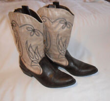 """LYNN COCONUTS Cow Boy Boots Combo Men Made Leather Beige/Brown S-9.5 M Heel 1.3"""""""