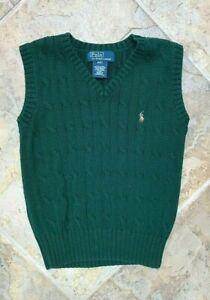 Ralph Lauren Boys EUC 4/4T Green cable knit sweater vest