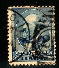 Sc# 216 5c Garfield 1888 blue American Bank Note used ellipse cancel short perf