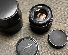 Minolta MD Rokkor f:1,4-50mm+ses Deux Bouchons +Housse.Très Bon État.
