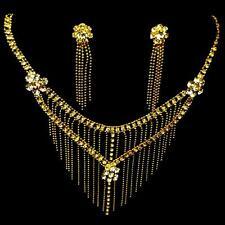 Bollywood Schmuckset BrautSchmuck Ohrringe Kette Collier Strass Gold Bauchtanz