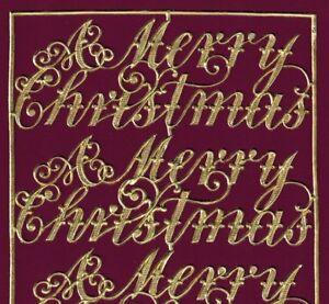 SCRIPT CHRISTMAS SALUTATION EMBOSSED LARGE GOLD CARD GERMANY DRESDEN ORNAMENT