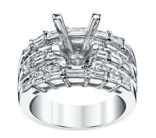 Diamond Ring Setting 2ct Baguette Princess Semi-Mount 18k White Gold 12gms