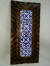 vintage Spanish wood wall plaque with blue and white tiles rustic charred finish
