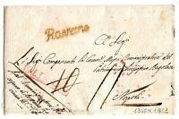 Rossano - Bollo Corsivo Rosso Giallastro  -  per Napoli  nel 1821