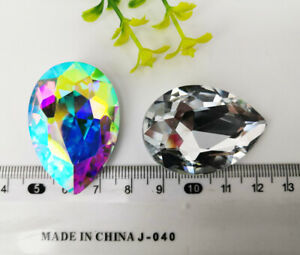 10pcs 28x40mm Large Stone Rhinestone Crystal Tear Drop Faceted Glass Jewels