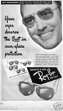 1949 Print Ad of Ray Ban Sun Glasses with Capt Frank Bennett Eastern Air Lines