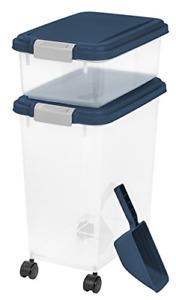 IRIS USA 3 Piece Airtight Pet Food Storage Container Combo, Navy Blue