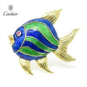 NYJEWEL Vintage Cartier 18k Yellow Gold Enamel Animalia Peacock Fish Pin Brooch