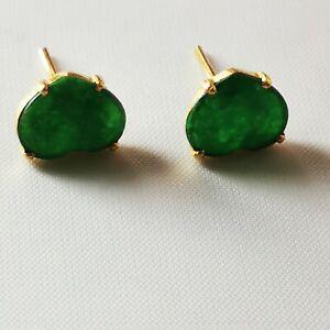 Nephrite Jade Earrings 21 Carat Gold imperial green 9mm Wide 2.6 grams 916 Mark
