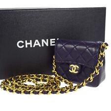 Authentic CHANEL CC Quilted Chain Mini Shoulder Bag Pouch Leather Purple 683M188