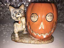 Yankee Candle Boney Bunch 2013 Halloween Cat w/ Pumpkin Votive Holder. Boney Cat