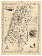 Modern Palestine Israel Gaza Ramlah Jerusalem illustrated map Tallis ca.1851