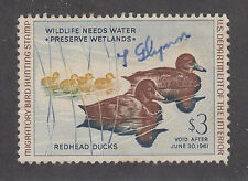 US Sc RW27 used 1960 $3 Redhead Ducks, Duck Stamp