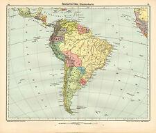 Mapa de 1908 ~ ~ Estados de América del Sur Brasil Bolivia Columbia Perú Uruguay Chile