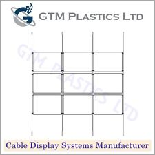 Cable Window Estate Agent Display - 3x3 A4 Landscape - Suspended Wire Systems