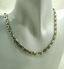 Vintage Heavy Solid Silver Sixstar Mexico Fancy Link Necklace