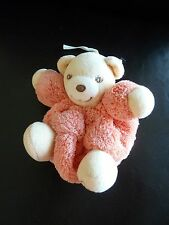 27/ MINI DOUDOU BOULE OURS KALOO PLUME ORANGE attache tétine 10 cms TBE lire svp