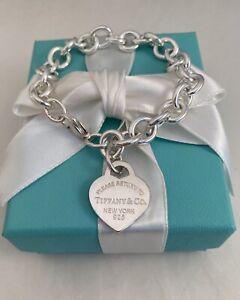 "Tiffany & Co Silver Return To T Heart Tag Link Bracelet Size Medium 7.5"" RRP$680"