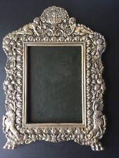 """Antique Sterling Picture Frame 16""""x11"""",  33 troy oz. Cherubs, lions, florals,etc"""